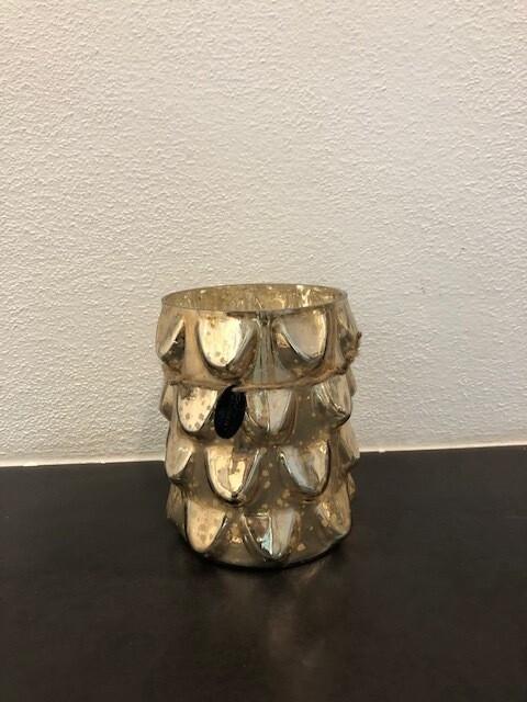 Windlicht Glas Fb. gold 16cm