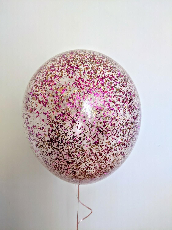 Hot Pink -Gold Confetti