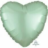 Heart - Pastel Green Satin