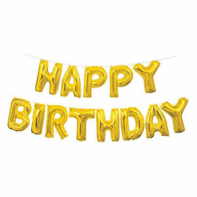 Happy Birthday Banner -Gold