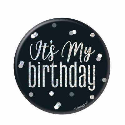 My Birthday Badge - Glitz Black & Silver