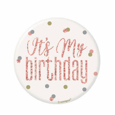 My Birthday Badge - Glitz Rose Gold & White