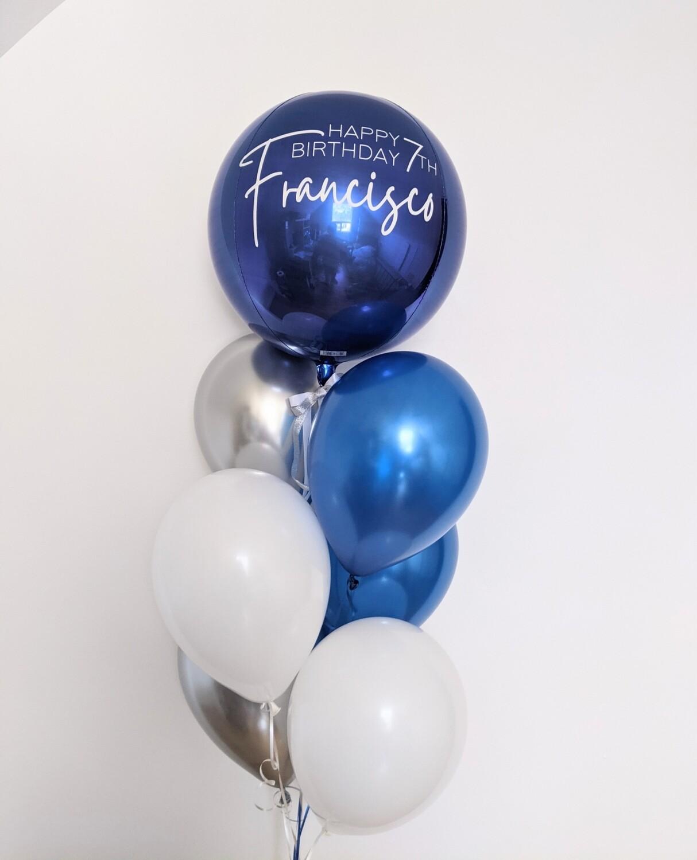 Personalise Orbz bouquet - Blue & Silver