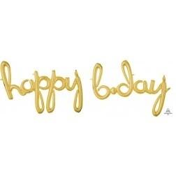Happy Birthday Script Banner - Gold