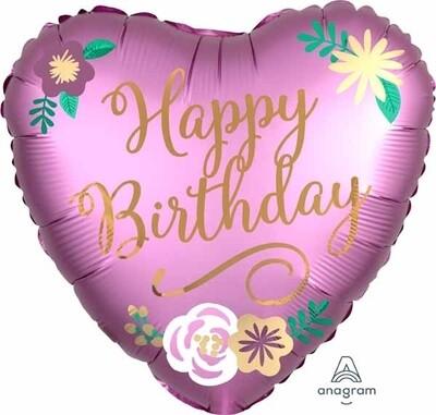 Happy Birthday Floral Heart