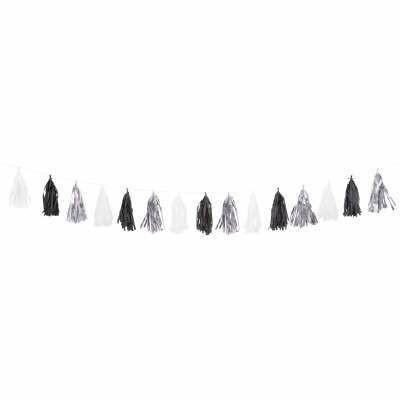 Tassel - Black Silver White