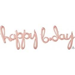 Happy Birthday Script Banner -Rose  Gold