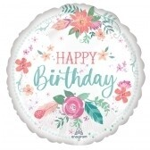 Happy Birthday Satin White
