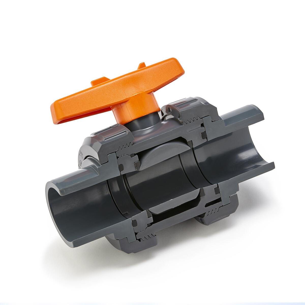 63mm Praher Plastics® 2-Wege Kugelhahn S6