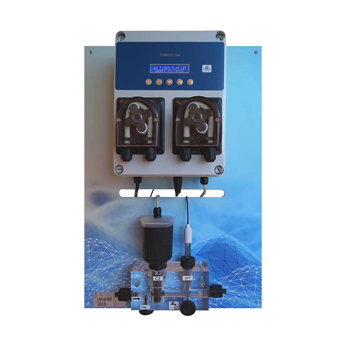 Smart Wasseraufbereitungssystem PAN-TURBOXY Duo pH 1,5 l/h Cl 3,0 l/h ppm (amperometrisch) Temp. freie Chlormessung inkl. WEB Anbindung, für private Schwimmbecken und öffentliche Becken, System auf Pa