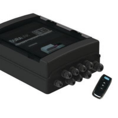 Adagio Pro RGB Fernsteuerung DMX512 & RS-485 Anbindung mit 350 VA Transformator, schwarz, Dimmfunktion, 2 Hilfsausgänge, inkl. 1 Handfunksender