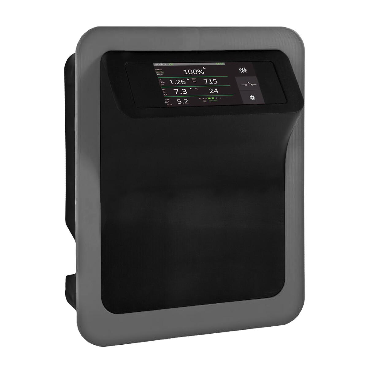 Smart Salzelektrolyseanlage PREMIUM-TOUCH-MODBUS 15g Cl/h selbstreinigende Zelle für private Pools bis 50m3 (Pumpenlaufzeit 8h)