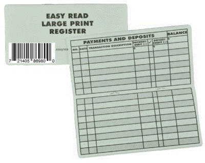 5 Large Print Checkbook Registers