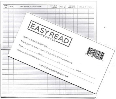 Easy Read Register 10 Checkbook Transaction Registers for Personal Checks - 2021/2022/2023 Calendars