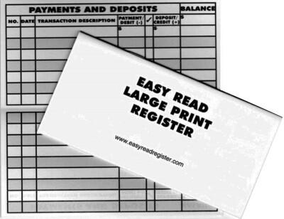 "Large Print Checkbook Register, 3"" x 6"", Fits Standard Checkbook Cover"