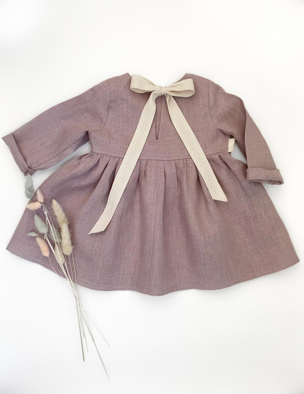 Платье с лентой на спине лиловое