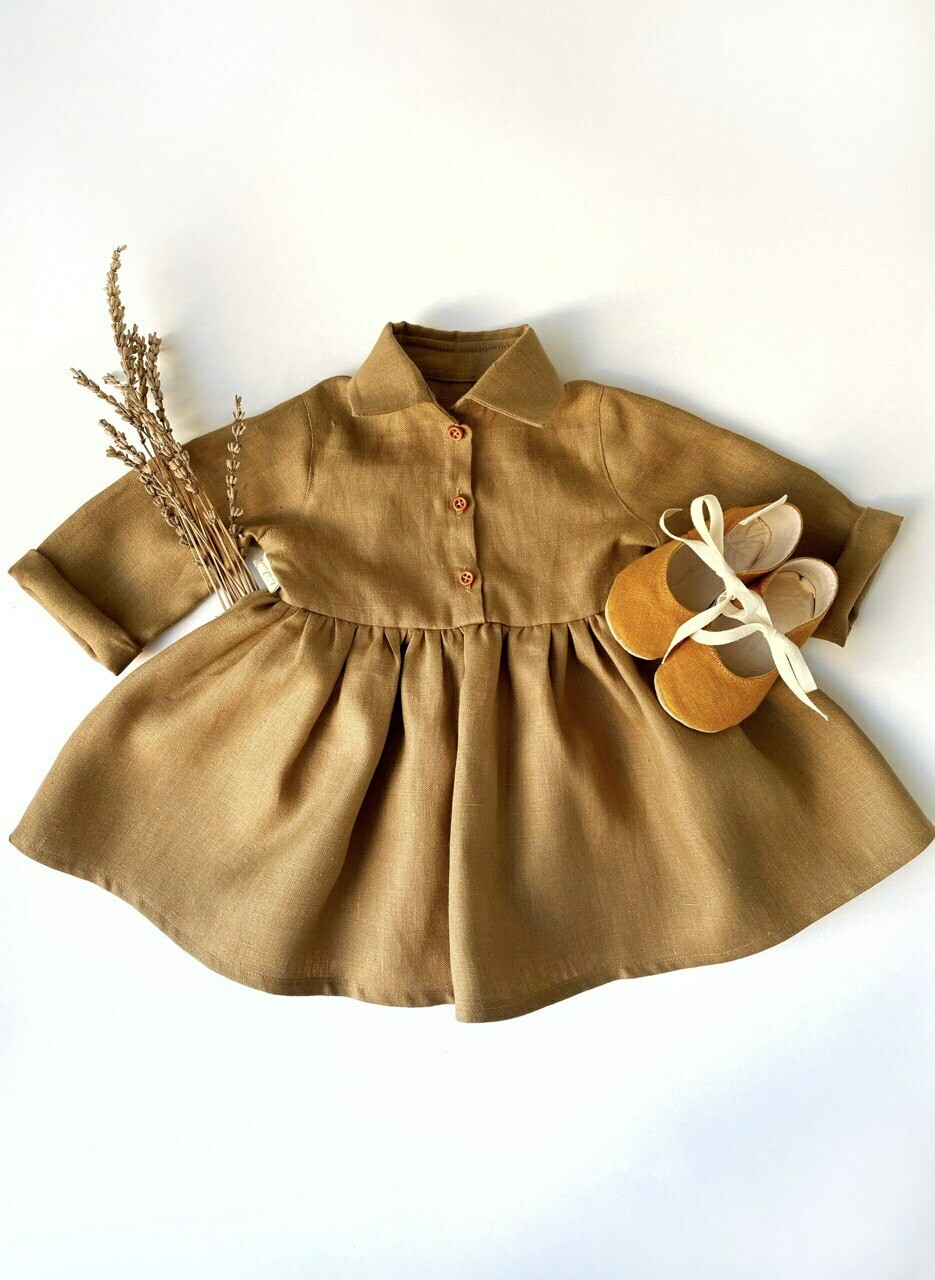 Платье-рубашка горчичное