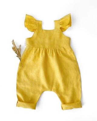 Комбинезон желтый с рюшами