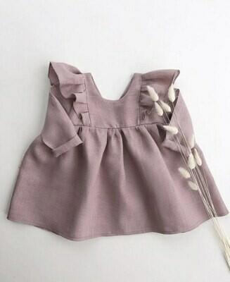 Платье Лиловое с рюшами и длинными рукавами