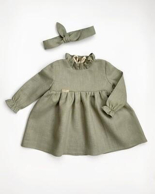 Платье Полынь с мелкой рюшей на шее и лентой
