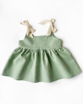 Мятное платье на широких лентах
