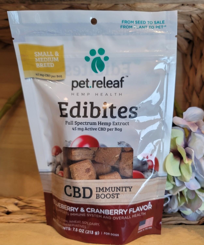 EDIBITES 45MG FULL SPECTRUM BLUEBERRY & CRANDBERRY PET.RELEAF