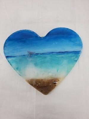 Epoxy Beach Theme Heart