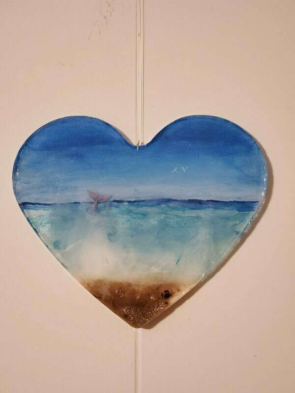 Epoxy Heart Beach Theme