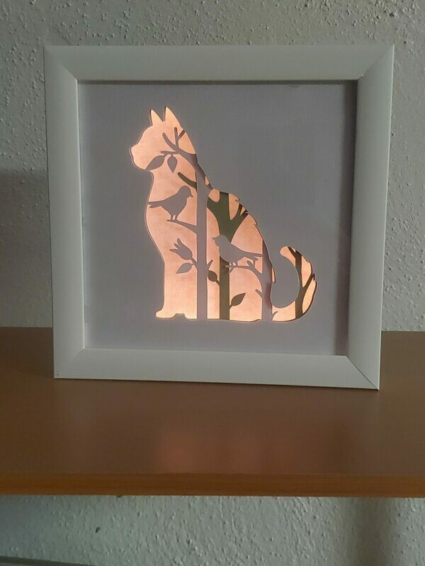 8x8 Sitting Cat Shadowbox