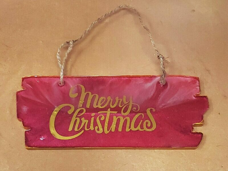 Red Epoxy Christmas Sign