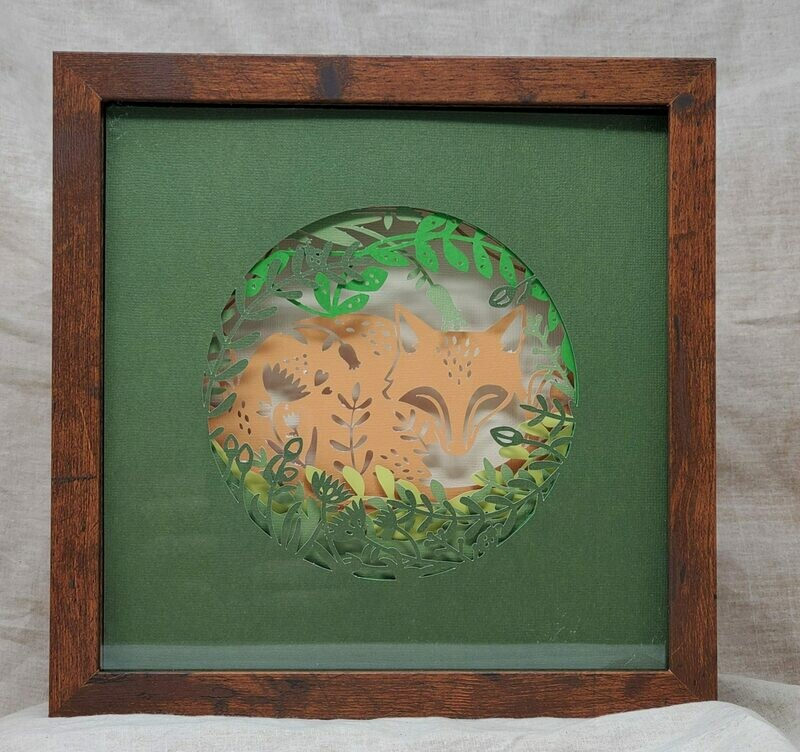 9x9 Sleeping Fox Shadowbox