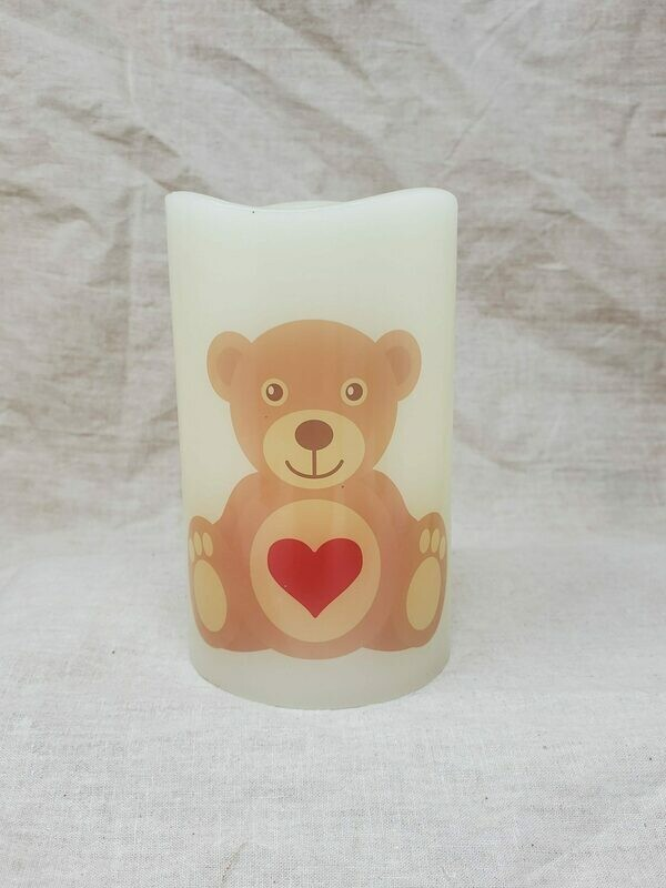 Ivory flickering Bear candle