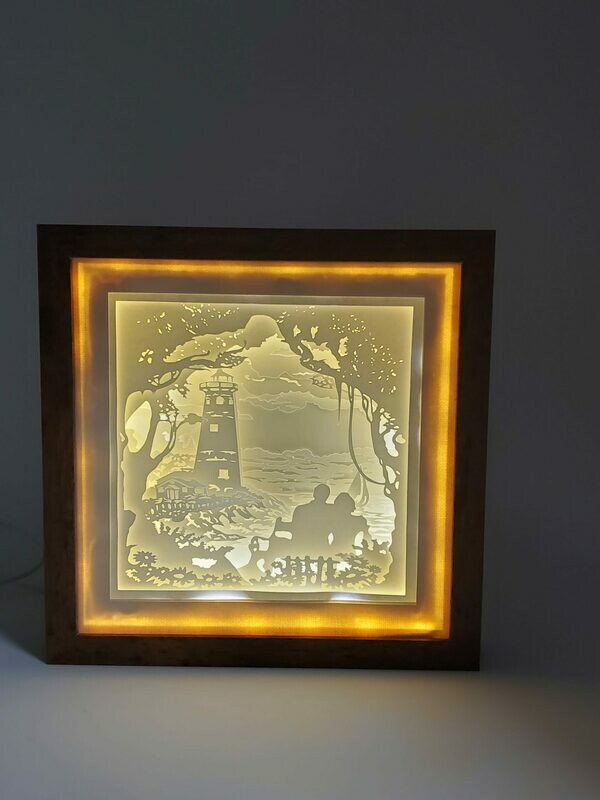 Lighthouse & Couple Shadowbox