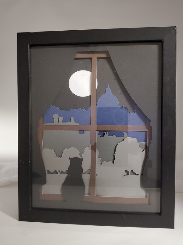 8x10 Cat and Moon Shadowbox