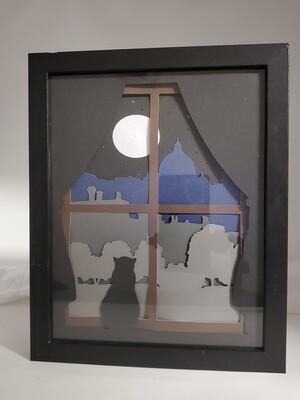 8x10 Cat and Moon Shadowbox