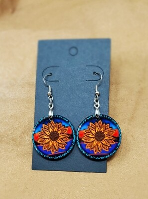Sunflower Small Round Earrings