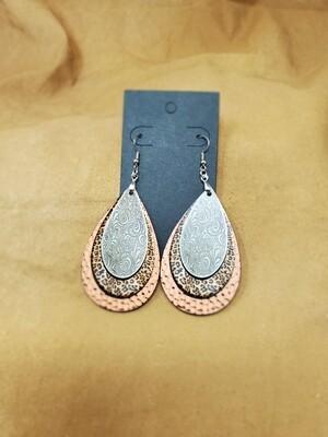 Hammered Tan Large Teardrop Earrings