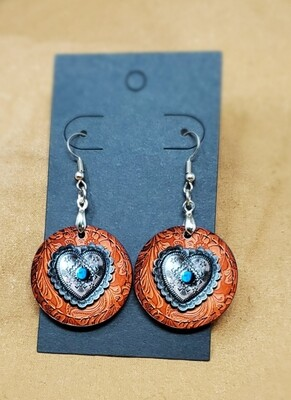 Turquoise Heart Small Round Earrings