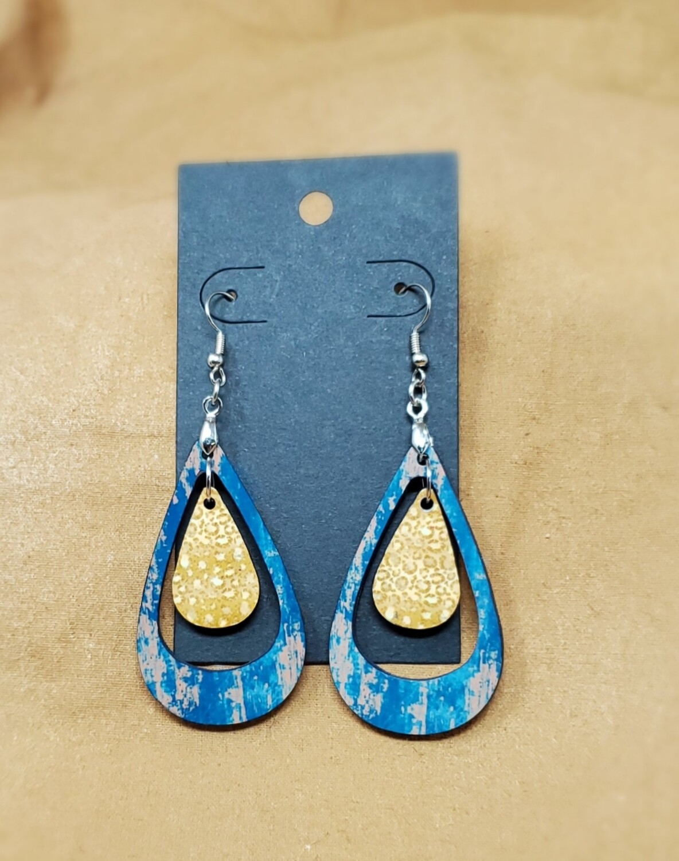 Blue/Gold Double Teardrop Earrings
