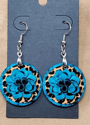 Blue Rose Small Round Earrings
