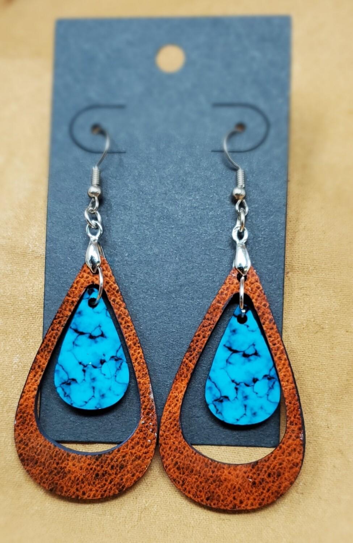 Leather/Turquoise Double Teardrop
