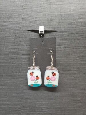 Ladybug Mason Jar Earrings