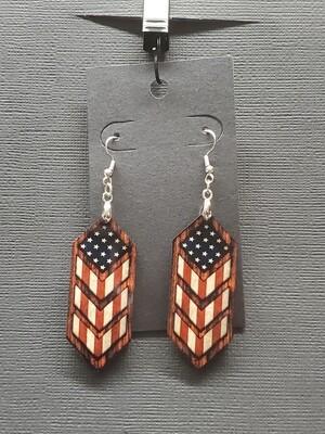 American Flag Drop Diamond Earring