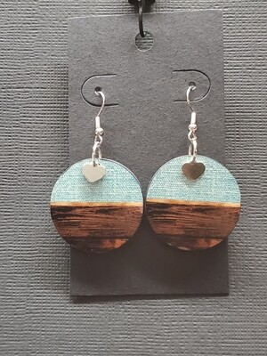 Round Jeans and Wood Earring