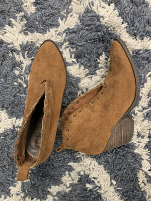 Coconuts Brown Suede Deep V Booties - Size 8