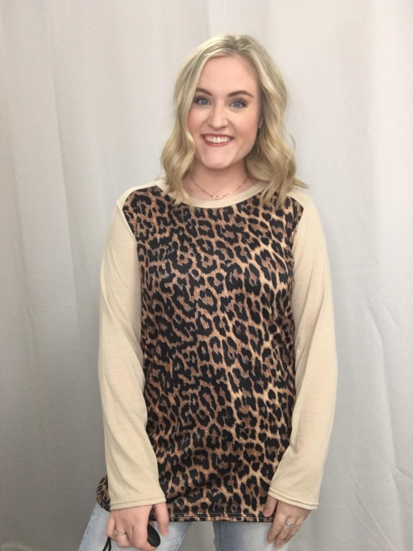 Leopard & Tan 1/4 Length Top - XL