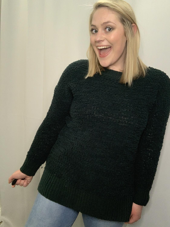 Zenana Premium Green Popcorn Sweater - M