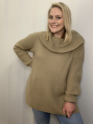Wishlist Tan Turtleneck Knit Sweater - M/L