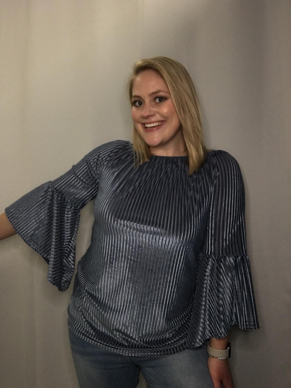 Lauren Hansen Blue Velvet Off Shoulder Top - S