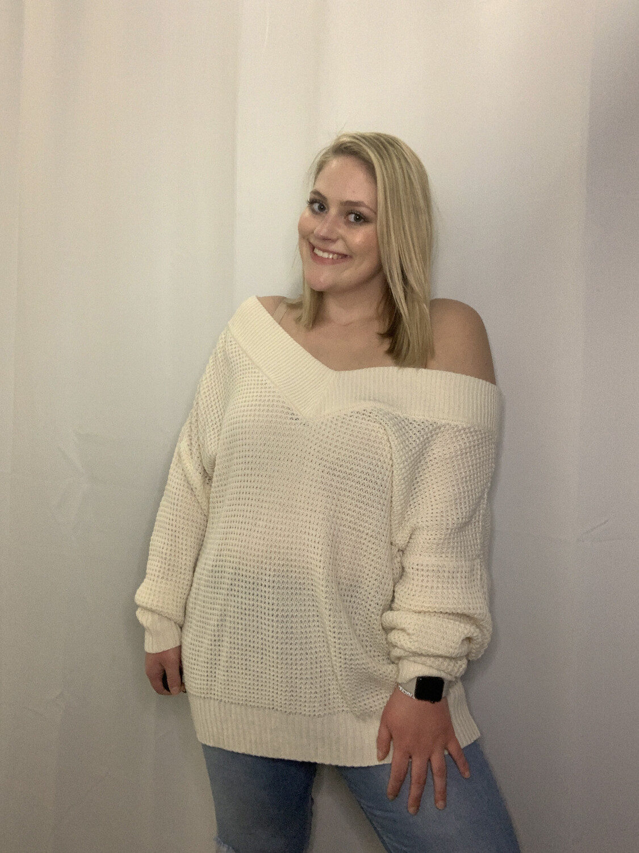 Zenana Premium Cream Off Shoulder Sweater - XL